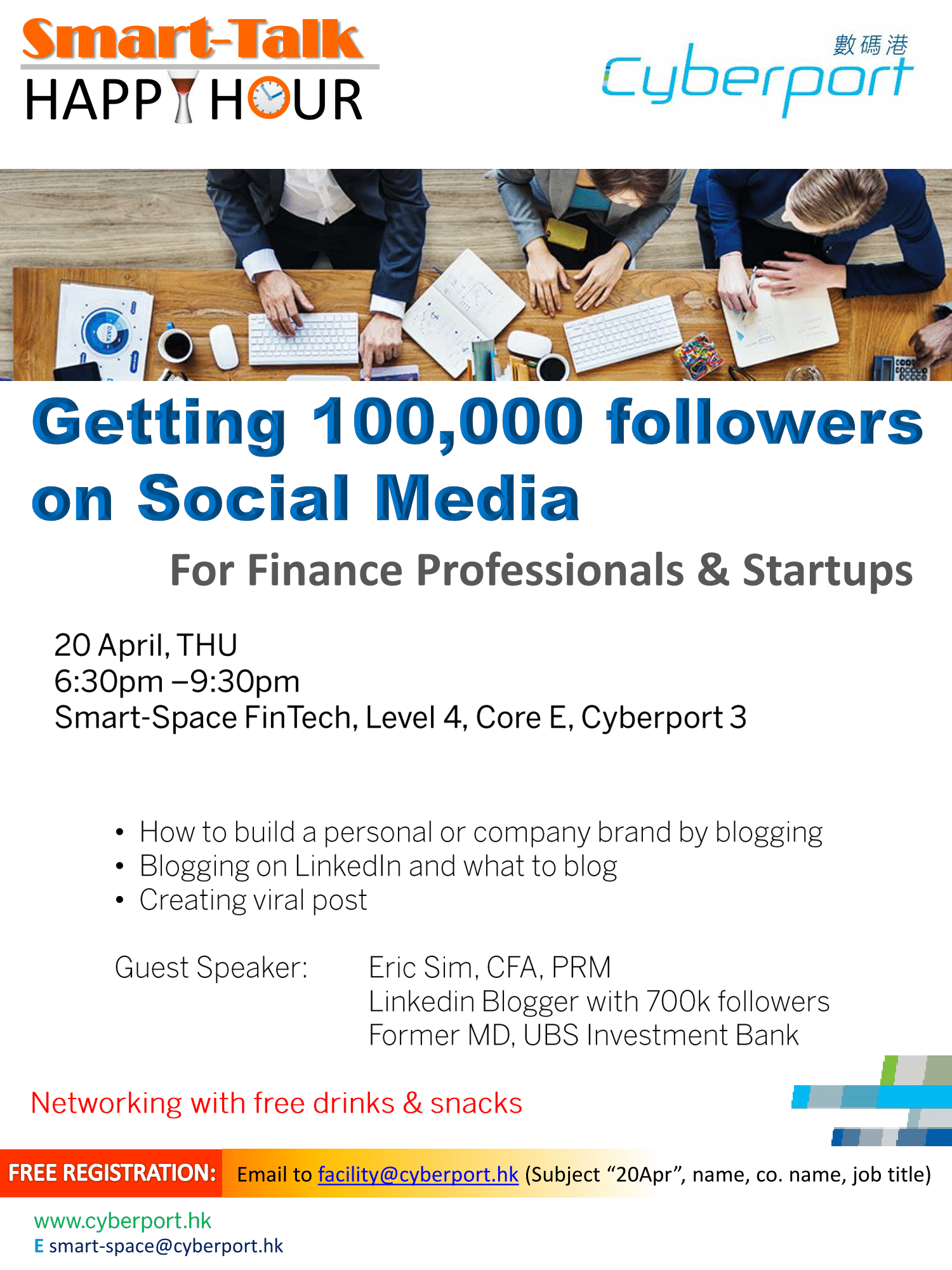 Smart Talk & Happy Hour: Getting 100,000 followers on Social Media