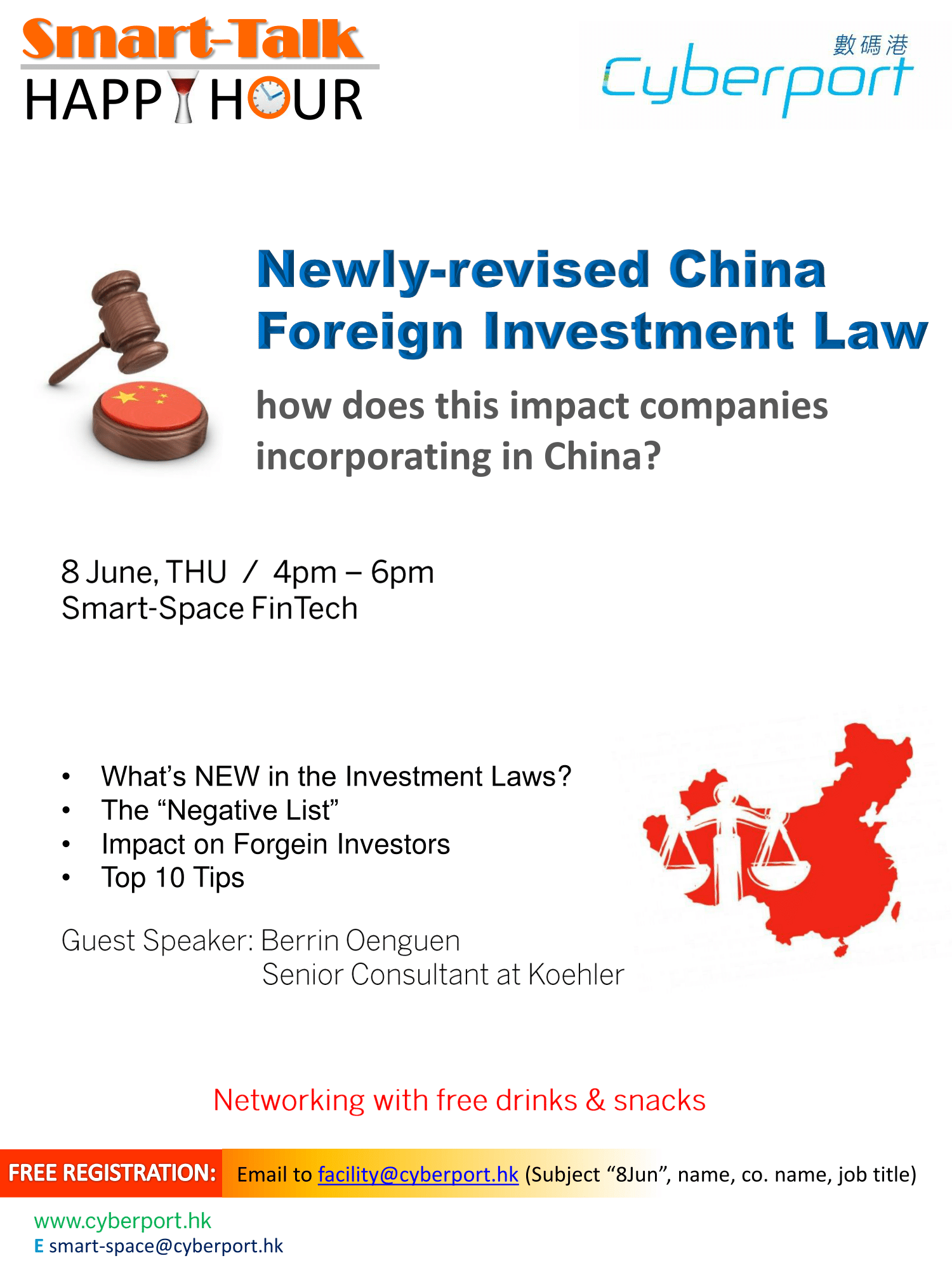 Smart Talk & Happy Hour: Newly-revised China Foreign Investment Law: how does this impact companies incorporating in China?